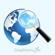 Globe & Magnifier Icon Design Free PSD File