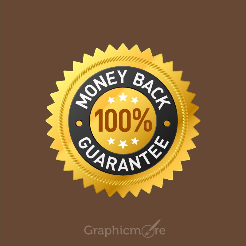 100  money back guarantee badge design free vector file