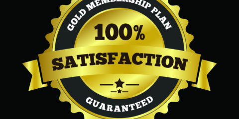 100% Satisfaction Label Badge Free Vector File