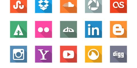 25 Social Media Flat Icon Set Design