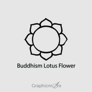 Buddhism Lotus Flower Symbol Design Free Vector File