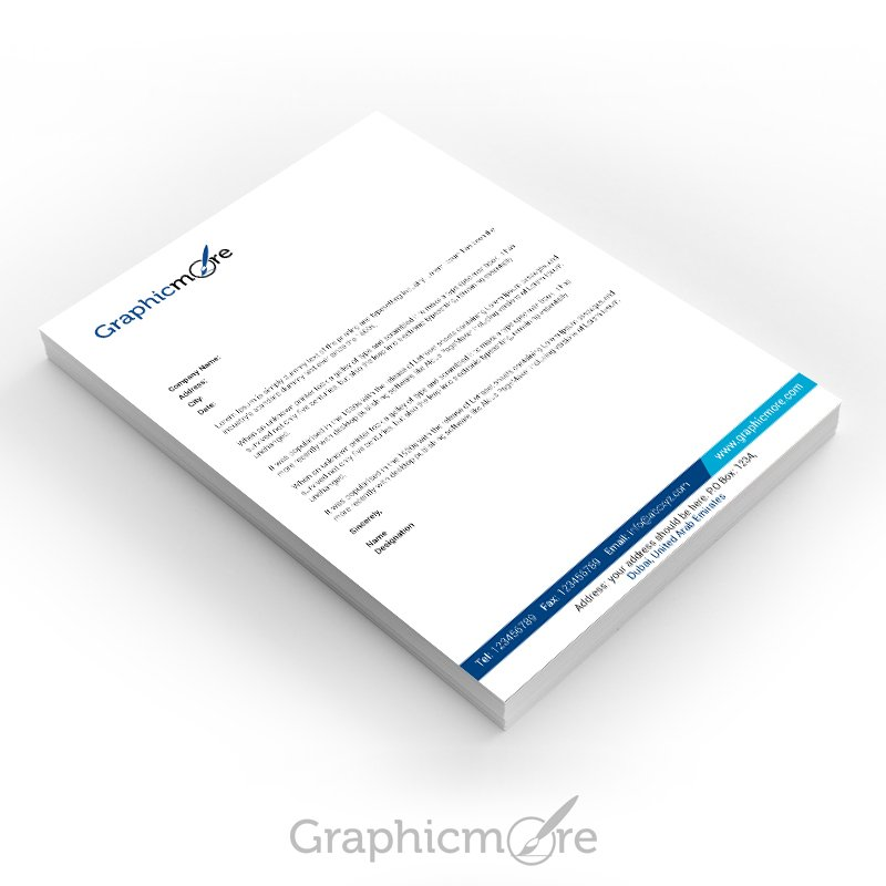 GraphicMore Navy Blue Letterhead Design Free PSD File Download