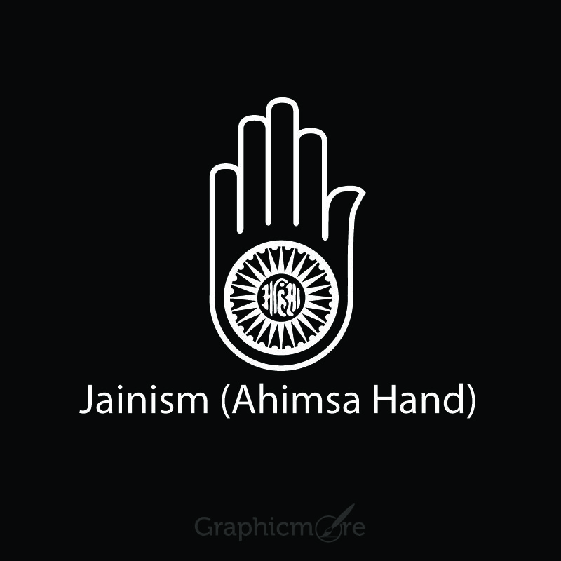 Jainism Ahimsa Hand Symbol Design Free Vector File