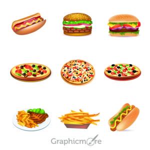 Pizza Hamburger Food Design Free Vector Graphics