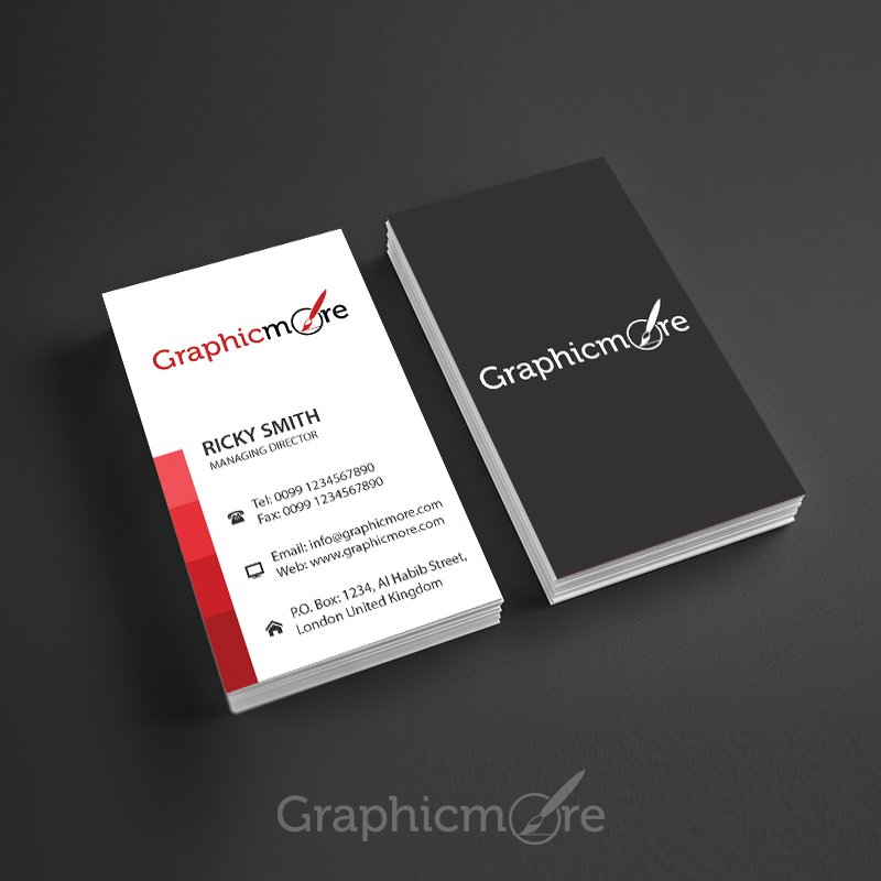 7 best free modern business card psd templates download red lines vertical business card template design accmission Images