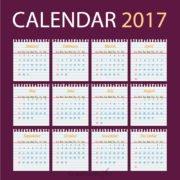 Calendar 2017 Template Design on School Paper Free Vector File