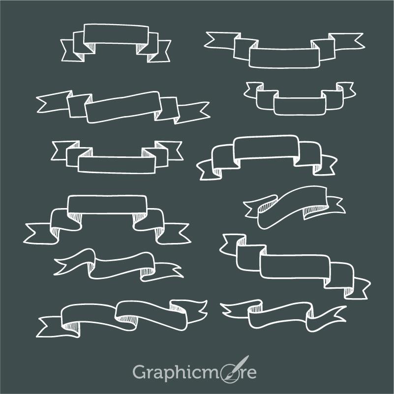 Hand Drawn Ribbon Set Design Free Vector File