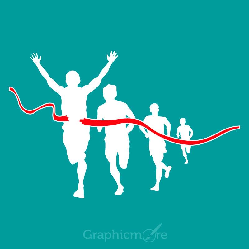 Marathon Runner Silhouette Design Free Vector File