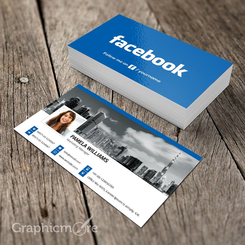 300 best free business card psd and vector templates facebook blue business card template wajeb Choice Image