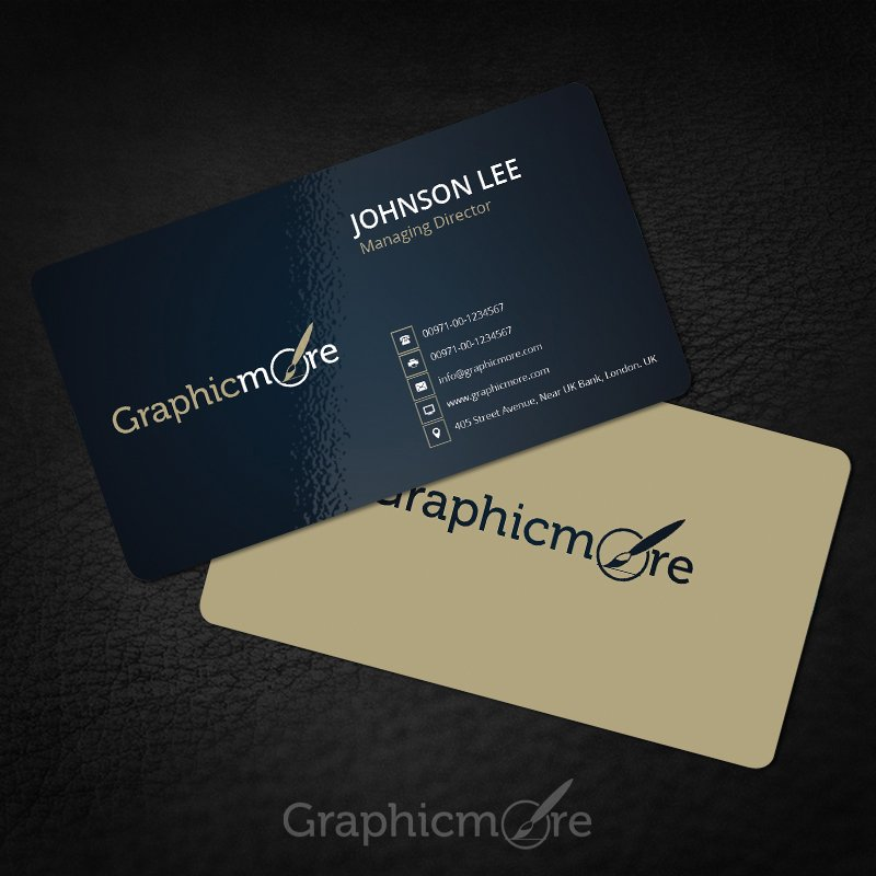 Rounded Black & Yellow Business Card Template & Mockup Design Free PSD File