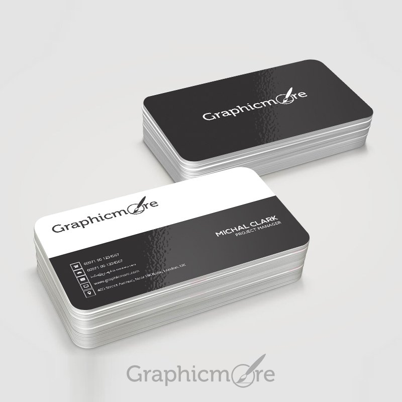 Corporate & Professional Rounded Edge Business Card Design Free PSD File