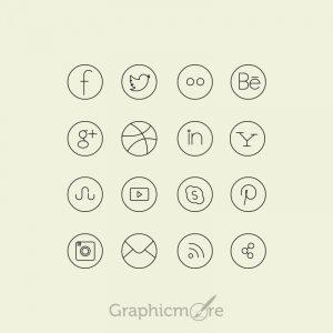 Social Media Line Icons Set Design Free PSD File - GraphicMore