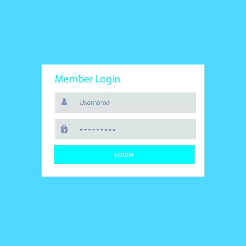 Blue Login Form UI Design For Website And Application