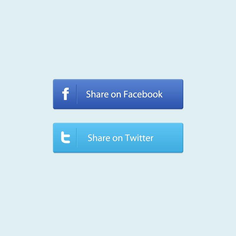 Facebook & Twitter Social Share Buttons PSD Design Templates