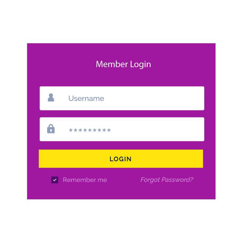Puple Member Login Form UI Template Vector Design