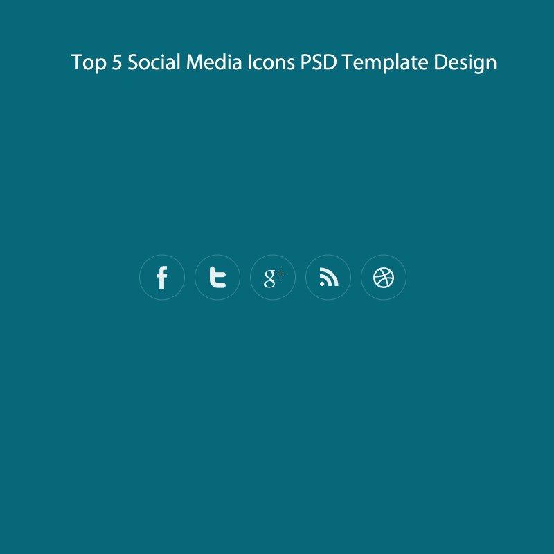 Top 5 Social Media Icons PSD Template Design